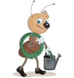 Ant gardener carries the hose and watering can vector