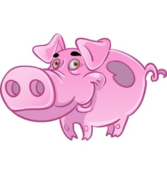Funny pink pig vector image vector image