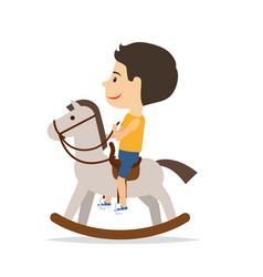 Little boy sitting on horse toy vector