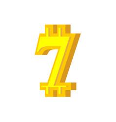 7 numeral bitcoin font seven numeric crypto vector
