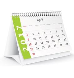 April 2017 desk calendar - vector