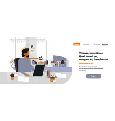Arab man boss using laptop workplace office desk vector