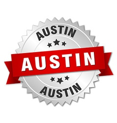 Austin round silver badge with red ribbon vector