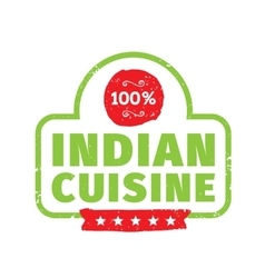 Authentic indian cuisine label vector image
