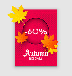 Autumn sale yellow fall leaves background vector