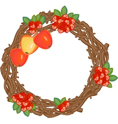 Autumn wreath with rowan berries and apples vector