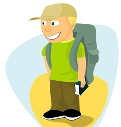 Backpacker boy with travel guide vector
