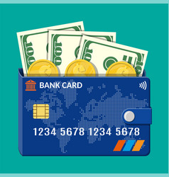 bank card wallet with dollar banknotes and coins vector image