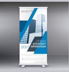 blue business roll up standee banner template vector image