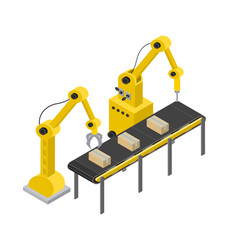 box production line and tools vector image