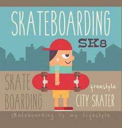 boy with skateboard vector image