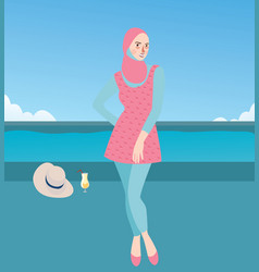 burqini woman girl wearing swim suit with hijab vector image