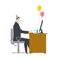 Businessman at party celebratory cap and party vector
