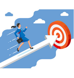 Businesswoman on chart ladder is fast running vector