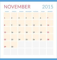 Calendar 2015 flat design template November Week vector