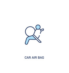 Car air bag concept 2 colored icon simple line vector