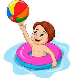 cartoon boy playing inflatable circle vector image