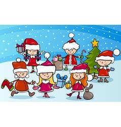cartoon kids on christmas vector image
