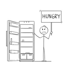 Cartoon of depressed man holding hungry sign and vector