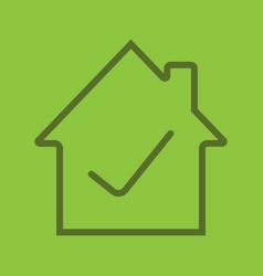 Checked house linear icon vector