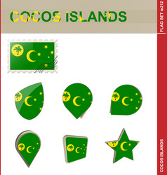 Cocos islands flag set flag set 212 vector