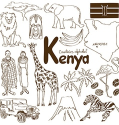 collection kenya icons vector image