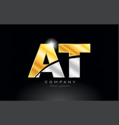 Combination letter at a t alphabet with gold vector