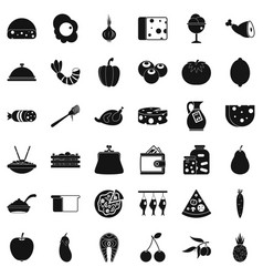 Cooking dessert icons set simple style vector