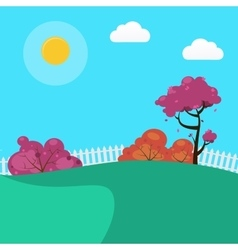 Countryside Landscape Background with Trees vector