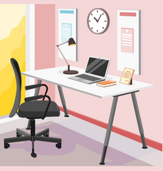 Creative workplace modern open space empty nobody vector