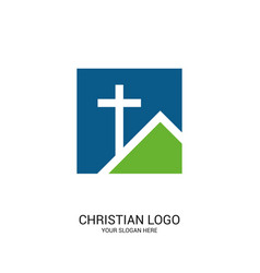 Cross of jesus christ on the house vector