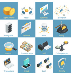 cryptocurrency isometric icons vector image