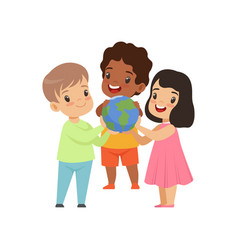 cute smiling multicultural little kids holding vector image