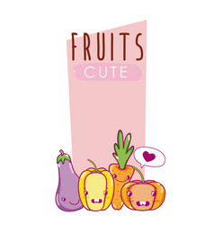 Cute vegetables kawaii cartoons vector