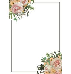decorative golden rectangular frame with pink vector image