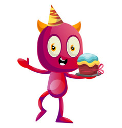 devil with birthday cake on white background vector image