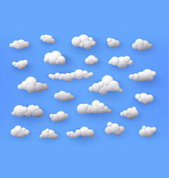 different shape 3d white clouds on blue vector image