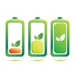 Eco battery charge level icons set vector