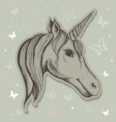 fabulous card with a unicorn vector image
