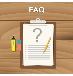 faq frequently aksed question checklist note on vector image
