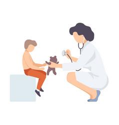 female doctor listening listening teddy bears vector image
