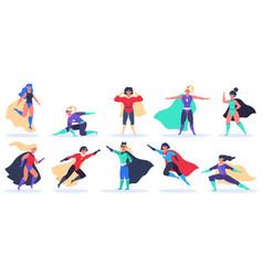 Female superheroes superwoman powerful characters vector