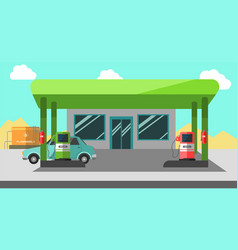 Filling station working colorful vector