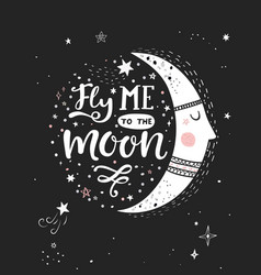 Fly me to the moon poster vector