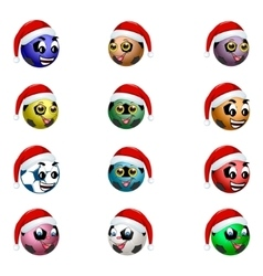 Football ball in the hat of Santa Claus vector image vector image