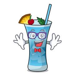 geek blue hawaii character cartoon vector image