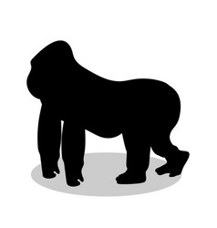Gorilla monkey primate black silhouette animal vector