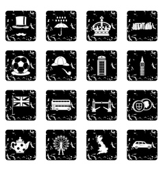 Great Britain set icons grunge style vector
