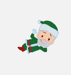 Green santa claus lying greets with a dreamy vector