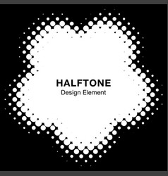 halftone dots flower frame logo design element vector image